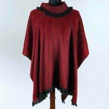 NEW SOFT & WARM ALPACA LLAMA WOOL PONCHO CAPE SHAWL FRINGE INDIGENOUS ECUADOR