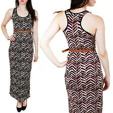 New Womens Ladies Belted Long Chevron Print Party Maxi Dress Size S M L 8 10 12