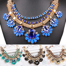 WOMENS GORGEOUS CRYSTAL CHOKER BIB STATEMENT COLLAR CHAIN NECKLACE PARTY JEWELRY