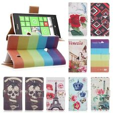 Pattern Printed PU Leather Flip Stand Case Wallet Cover For Nokia Lumia 520 NEW