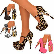 NEW Ladies Super High Ankle Strap Gold Chain Stiletto Platform Pumps Shoes Size