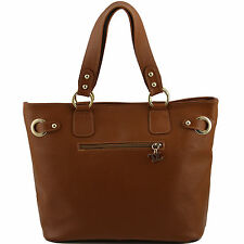 TUSCANY LEATHER rigid leather bag made in Italy with gold accessories
