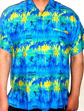 MENS BLUE YELLOW PALM TREE HAWAIIAN CARIBBEAN SHIRT S M L XL XXL XXXL