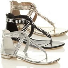 LADIES WOMENS NEW GLADIATOR DIAMANTE BRIDAL BLING SANDALS FLIP FLOPS SHOES SIZE