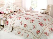 Floral Chic Vintage Quilted Bedspread Throw + 2 Pillow Shams in 2 Sizes