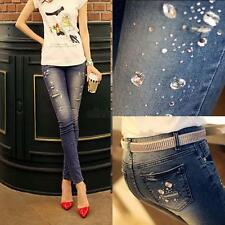 Women Fashion Beaded Skinny Stretch Pencil Denim Jeans Pants Sexy Slim Trousers
