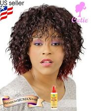 Cutie Collection 80 Premium Human Hair Blended Wig + Free African Essence Spray