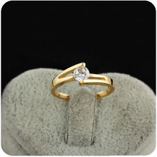 Fashion Lady's White Sapphire 18K Gold Filled Crystal Engagement Ring Size 7,8