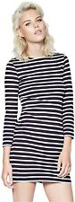 French Connection French Stripe Long Sleeve Jersey Dress Dark Blue - UK 8-14