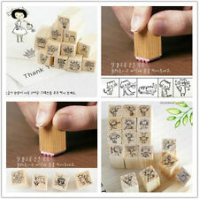 Stamp New 4 x type DIY Stamps 12pcs Cute mini Wooden Rubber Stamp