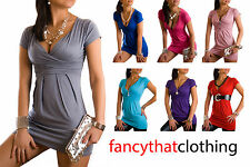 Sexy V Neck Tunic Top Shirt Mini Dress Trendy Great for Maternity Size S M L XL