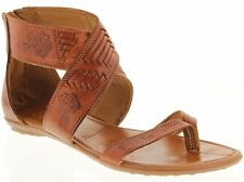 Women's genuine leather huaraches mexican sandals flip flop strap slip on 203