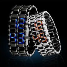 Fashion Volcanic Lava Iron LED Band Digital Faceless Metal Bracelet Wrist Watch