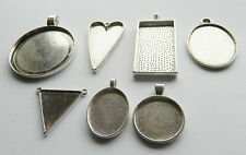 ANTIQUE SILVER METAL CABOCHON SETTING PENDANTS BEZELS ASSORTED STYLES AND SIZES