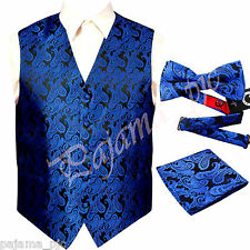 ROYAL XS to 6XL Paisley Tuxedo Suit Dress Vest Waistcoat & Bow tie & And Hankie