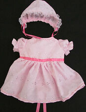 Broderie Anglaise Pink or White Dolls / Reborn Dress and Bonnet hat - Hand Made