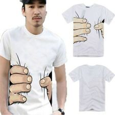 Wear Funny Cool Men's Round Neck Short Sleeve Big Hand Printed Cotton T-shirt
