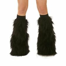 Black Rave Furry Fluffy Gogo Fur Boot Covers Fluffies With Black Kneebands