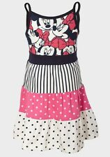 Girls H&M Disney Minnie Mouse Dress Stripe & Polka Dot Print To Bottom Strap Top