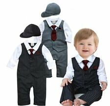 Baby Boy Wedding Christening Formal Tuxedo Suit Romper Outfit+HAT Set (00 0 1 2)