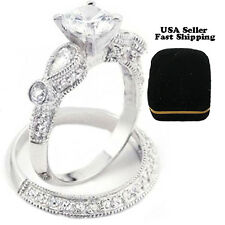 2 pc real 925 Sterling silver 2.50 Ct Women's Wedding Engagement Ring Sz 4-10.5