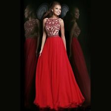 New Red Long Pageant Wedding Evening Boat Neck Prom Gown Dress Ball Bridal Party