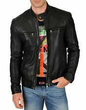New Original Quilted Soft Lambskin Leather Biker Jacket For Stylish Men M- 14