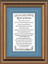 The Art of Marriage Inspirational Motivational Framed Gift For Wedding