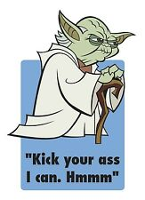 Mens Funny Quote T-Shirt, Star Wars Yoda Kick Ass Funny Birthday Present Gift