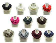 Knit Infinity Scarf Winter Warm Knit Cowl Neck Long Women Shawl