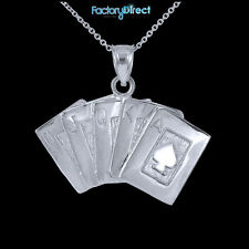 White Gold Poker Royal Flush Pendant Necklace Ace Of Spade A K Q J 10 Poker Card
