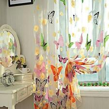 Pretty Butterfly Print Sheer Window Door Panel Curtains Room Divider Tulle Scarf