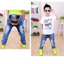 New Baby Kids Boys Jeans Patchwork Cool Smiley Glasses Legging Jeans 2-7 Years