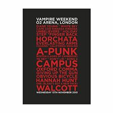 Vampire Weekend O2 London 02 Set List Poster November 13th 2013, A4 & A3
