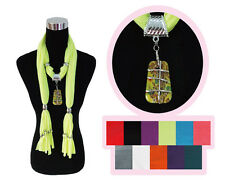 Fashion Jewelry Scarf Wrap Necklace Lucky Gem Pendant Charm Tassel 11 Colors