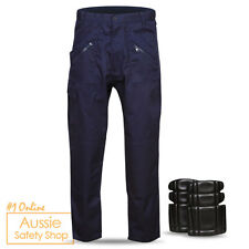 MENS MEDIUM WEIGHT TRADIES BUILDER WORK TROUSERS PANTS 9 POCKETS KNEE PAD