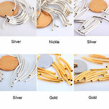 100Pcs Silver/Gold/Nickel/Copper Smooth Curved Tube Spacer Beads fit Jewelry