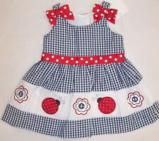 BNWT GIRLS WHITE & NAVY SEERSUCKER DRESS WITH  LADYBUG SIZE 0000 TO 4