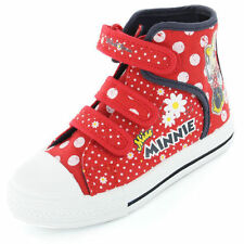 RED MINNIE MOUSE VELCRO CANVAS HI TOP TRAINERS SHOES BOOTS SIZE 6 - 12 RRP £20