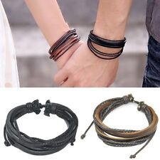 Men Wrap Multilayer Genuine Leather Bracelet with Braided rope Fashion Jewelry
