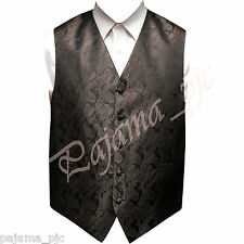 Brown XS to 6XL Paisley Tuxedo Suit Dress Vest Waistcoat Wedding Party Prom