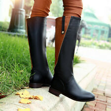 WINTER  WOMEN STITCHING SQUARE LOW HEEL CASUAL KNEE HIGH RIDING BOOTS
