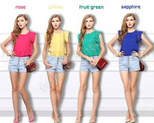 2014 New Women Summer Charm Round Collar Flying Sleeve Tops Loose Chiffon Blouse