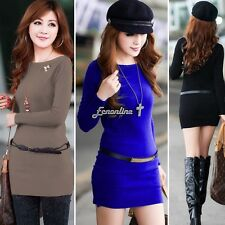 Winter Women Long Sleeve Knitted Jumper Sweater Tops Pullover Dress Casual