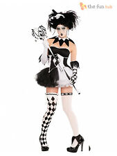 Ladies Sexy Harlequin Clown Jester Halloween Fancy Dress Costume Womens Adult