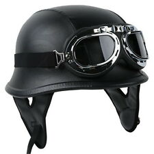 NEW German Leather Half Helmet DOT Motorcycle Cruiser Helmet with Pilot Goggles