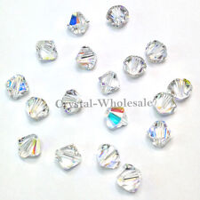 4mm Crystal AB (001 AB) Genuine Swarovski crystal 5328 / 5301 Loose Bicone Beads