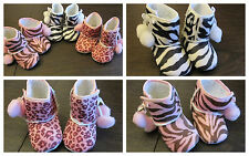 WILD Baby Girl Safari ANIMAL PRINT Winter BOOTS CRIB SHOES Pink Zebra Cheetah