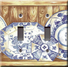 Light Switch Plate Cover - Blue oriental dishes - Tableware old wood deco rustic