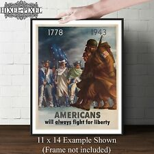 Vintage canvas  War Poster poster Americans always fight for liberty